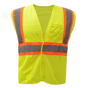 GSS Standard Class 2 Two Tone Mesh Hook & Loop Safety Vest 1007 Lime