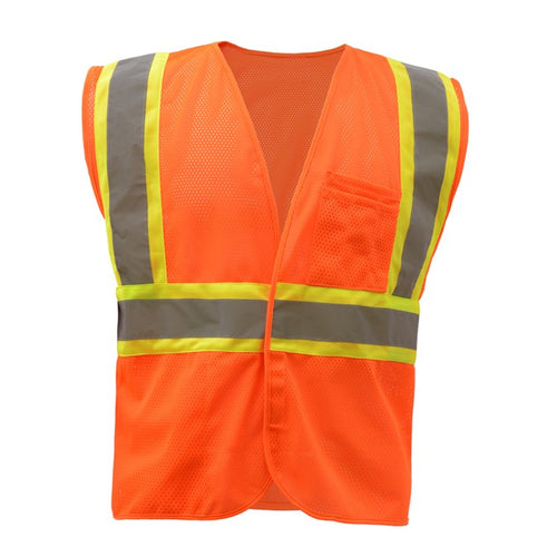 GSS Standard Class 2 Two Tone Mesh Hook & Loop Safety Vest 1008 Orange