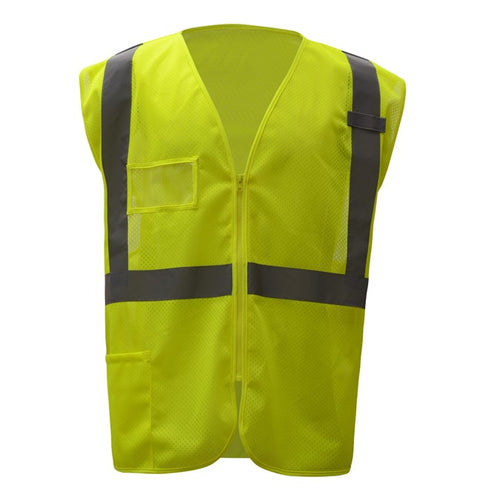 GSS Standard Class 2 Mesh Zipper Safety Vest with Id Pocket 1009 Lime