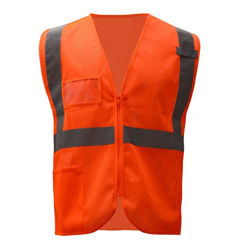 GSS Standard Class 2 Mesh Zipper Safety Vest with Id Pocket 1010 Orange