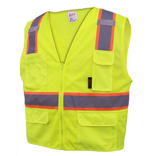 GSS Premium Class 2 Multi Purpose Two Tone Mesh Zipper 6 Pockets Vest 1501 Lime