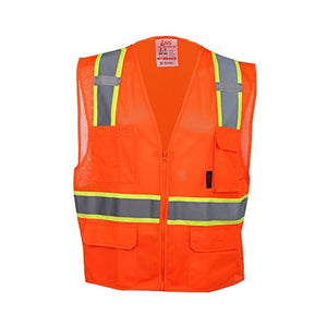 GSS Premium Class 2 Multi Purpose Two Tone Mesh Zipper 6 Pockets Vest 1502 Orange