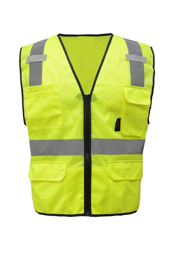 GSS Premium Class 2 Multi Purpose Mesh Zipper 6 Pockets Vest 1505 Lime