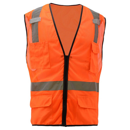 GSS Premium Class 2 Multi Purpose Mesh Zipper 6 Pockets Vest 1506 Orange