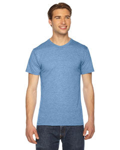 American Apparel Unisex Triblend Short-Sleeve Track T-Shirt TR401W ATHLETIC BLUE