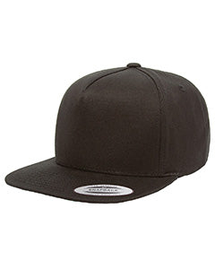 Yupoong Adult 5-Panel Cotton Twill Snapback Cap Y6007 BLACK