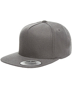 Yupoong Adult 5-Panel Structured Flat Visor Classic Snapback Cap YP5089 DARK GREY