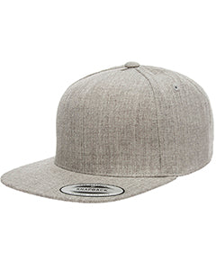 Yupoong Adult 5-Panel Structured Flat Visor Classic Snapback Cap YP5089 HEATHER GREY