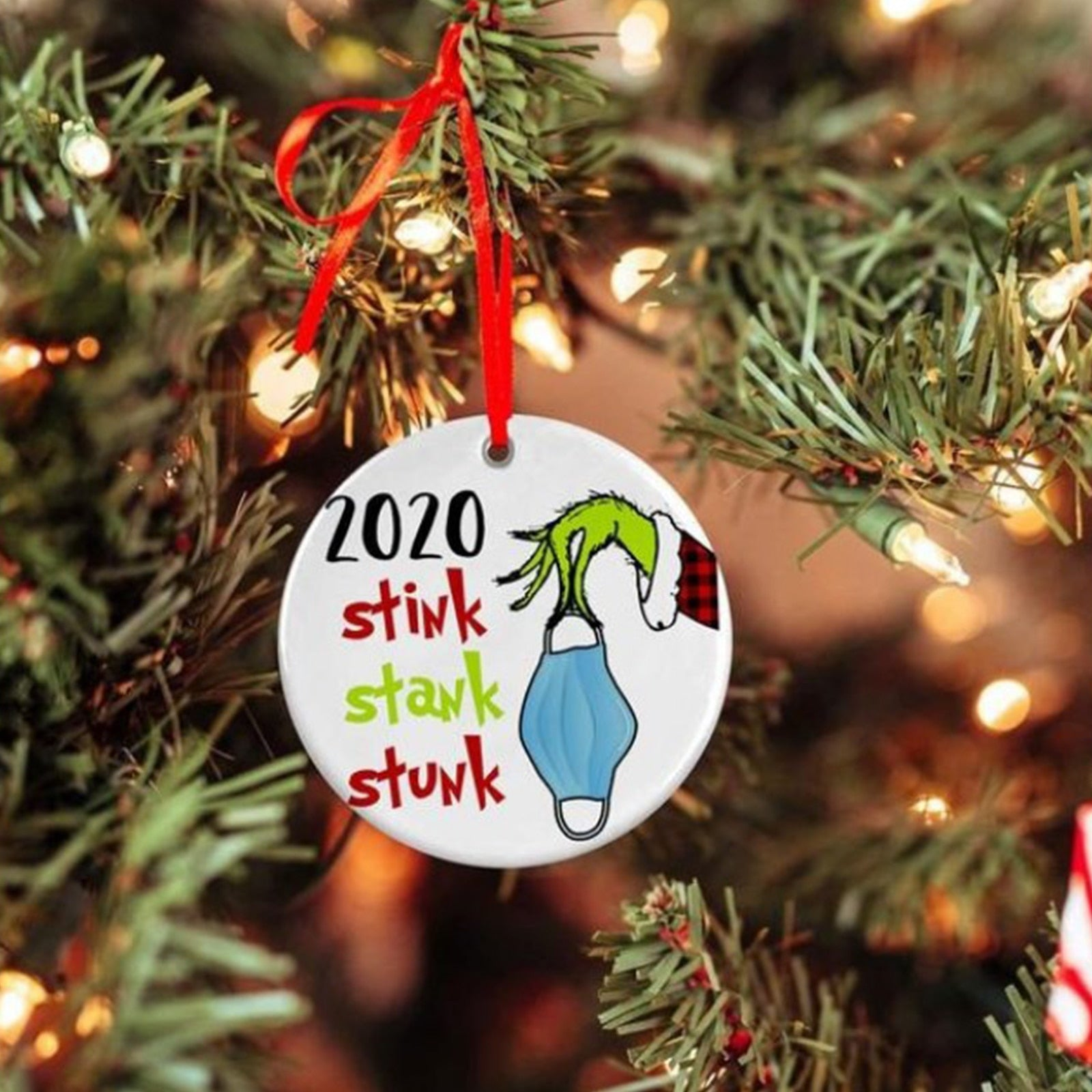 2020 Stink Stank Stunk Grinch Mask Ornament