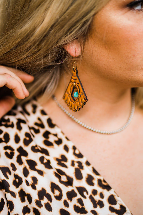 Tooled Turquoise Earring