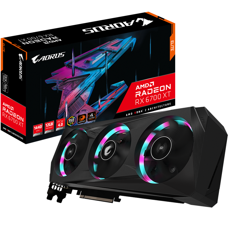 AORUS Radeon RX 6700 XT ELITE 12GB GDDR6 Graphics Card-Graphics Cards-Availability_In Stock, Brand_Aorus, Platform_AMD, PROCESSOR_RX 6700, Series_RX6000-Gear Here