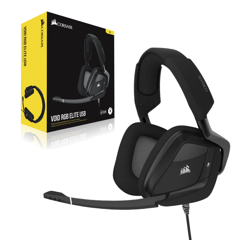 Corsair VOID RGB ELITE USB Premium Gaming Headset with 7.1 Surround Sound — Carbon/White-Headset-Audio_7.1 surround sound, Availability_Out of stock, Brand_Corsair, Connectivity_Wired, Peri