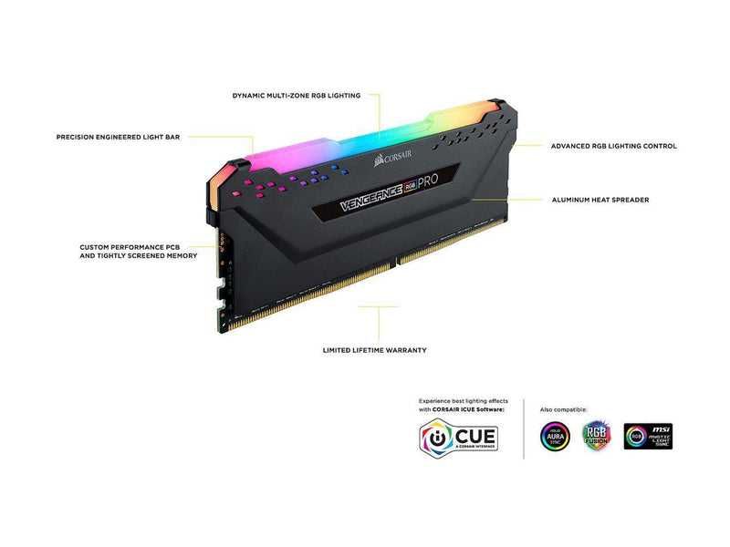 Corsair Vengeance RGB Pro 3600 MHz 16GB (1x16GB)-Memory-Availability_In Stock, Brand_Corsair, Capacity_16GB, Frequency_3600MHz, RGB_YES-Gear Here