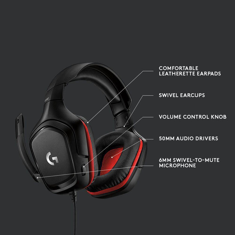 Logitech G332 GAMING HEADSET-Headset-Audio_Stereo, Availability_In Stock, Brand_Logitech, Connectivity_Wired, Peripherals, Supplier3, Type_Headset-Gear Here