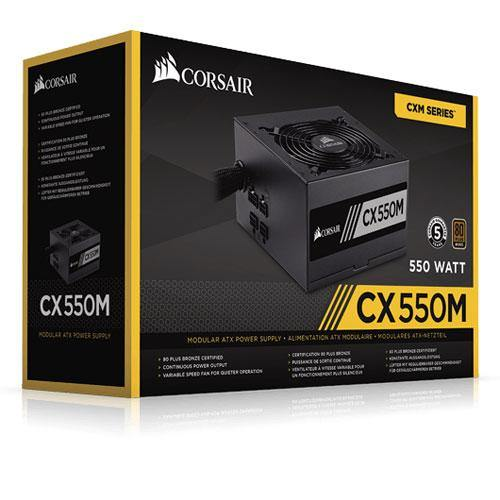 Corsair CX550M Bronze Semi-Modular 550W PSU-Power Supply-80 PLUS Certification_Bronze, Availability_Out of stock, Brand_Corsair, Modular_Semi, Total Power_550W-Gear Here