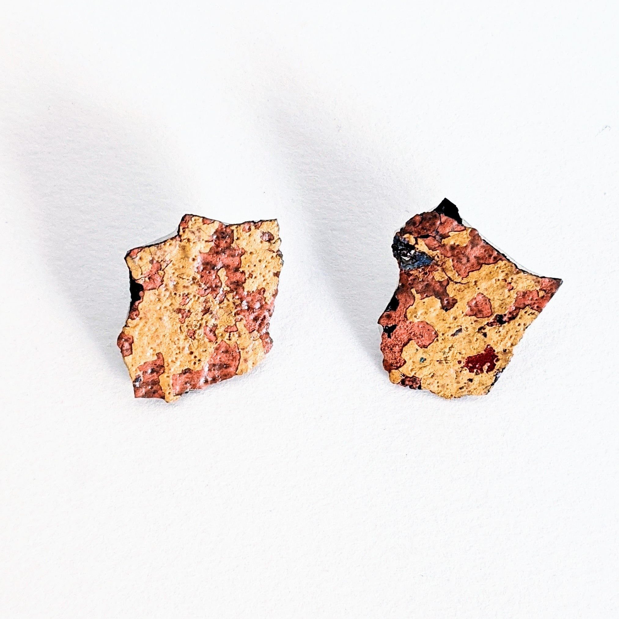 Stud Earrings Found Graffiti Large Irregular