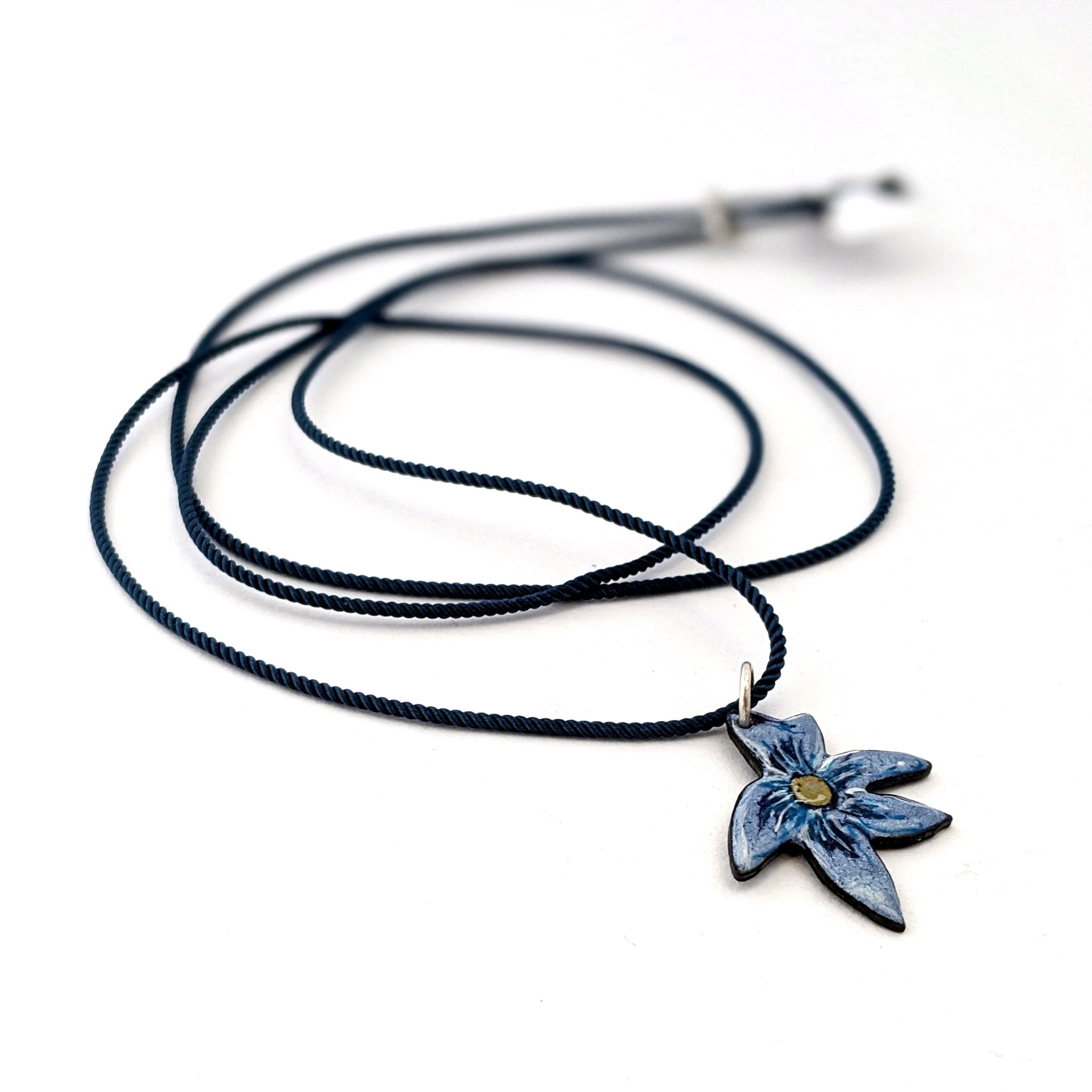 Necklace Enamel Violet Flower
