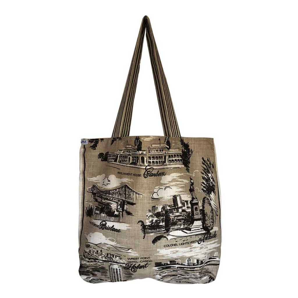Tote Bag Vintage Linen Cities of Australia