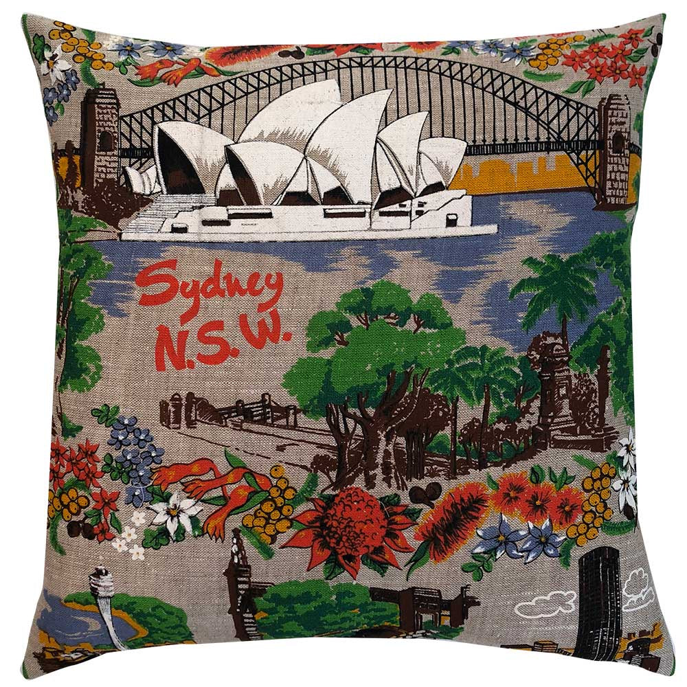 Cushion Cover Vintage Linen Sydney on Wholemeal