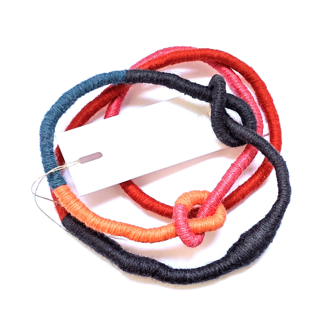 Necklace Fibre Wrapped Grey Red Pink Orange