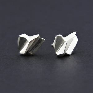 Stud Earrings Fractured Facet Sterling Silver