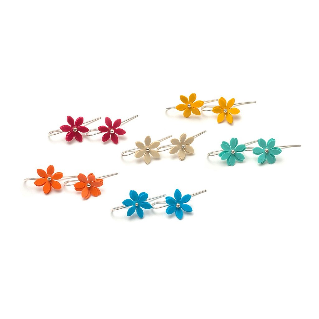 Hook Earrings Daisy Punch PVC Sterling Silver