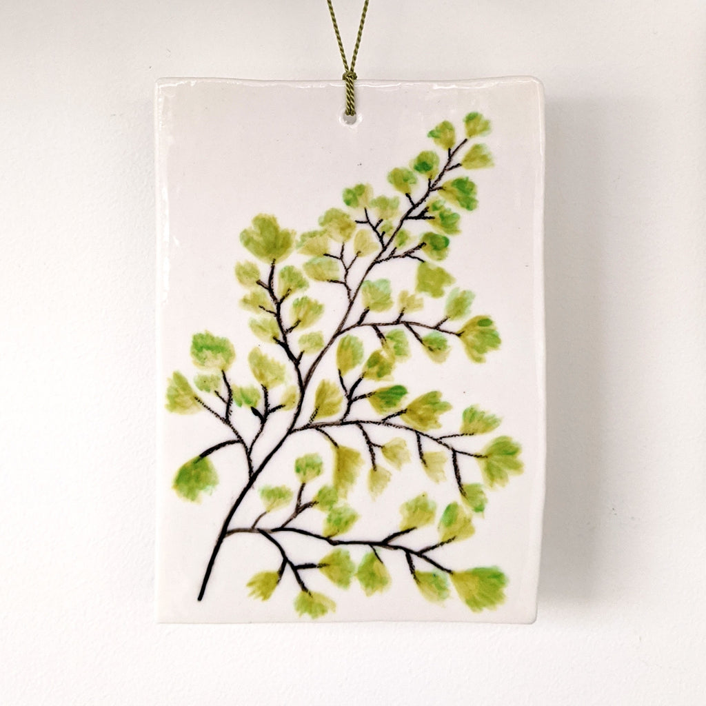 Ceramic Wall Drawing Maidenhair Fern