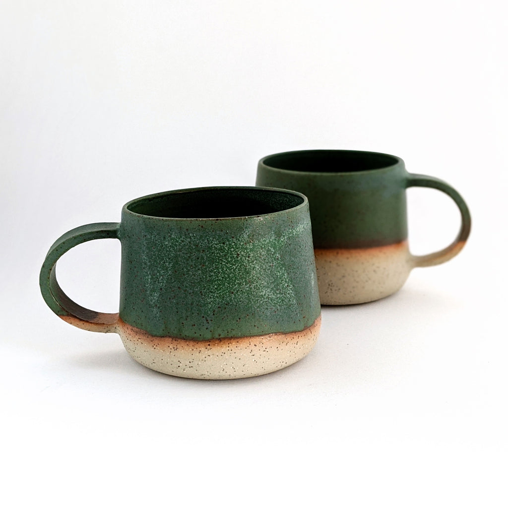 Ceramic Cup With Handles Green Stoneware