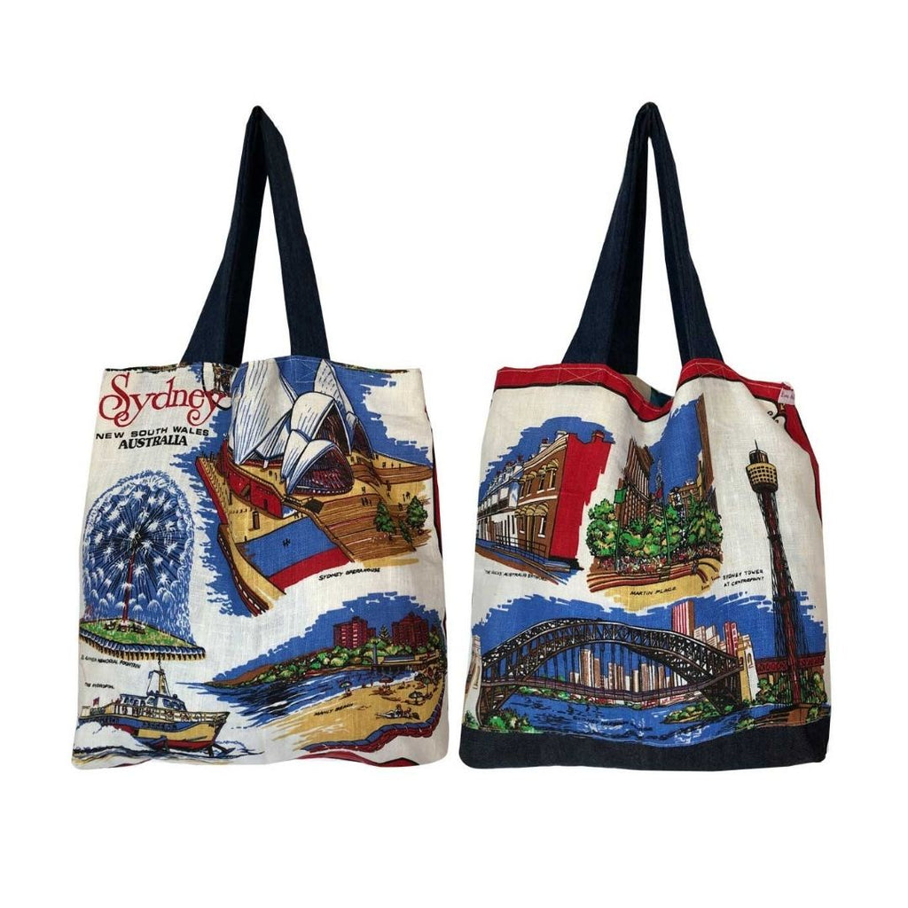Tote Bag Vintage Linen Sydney Sights