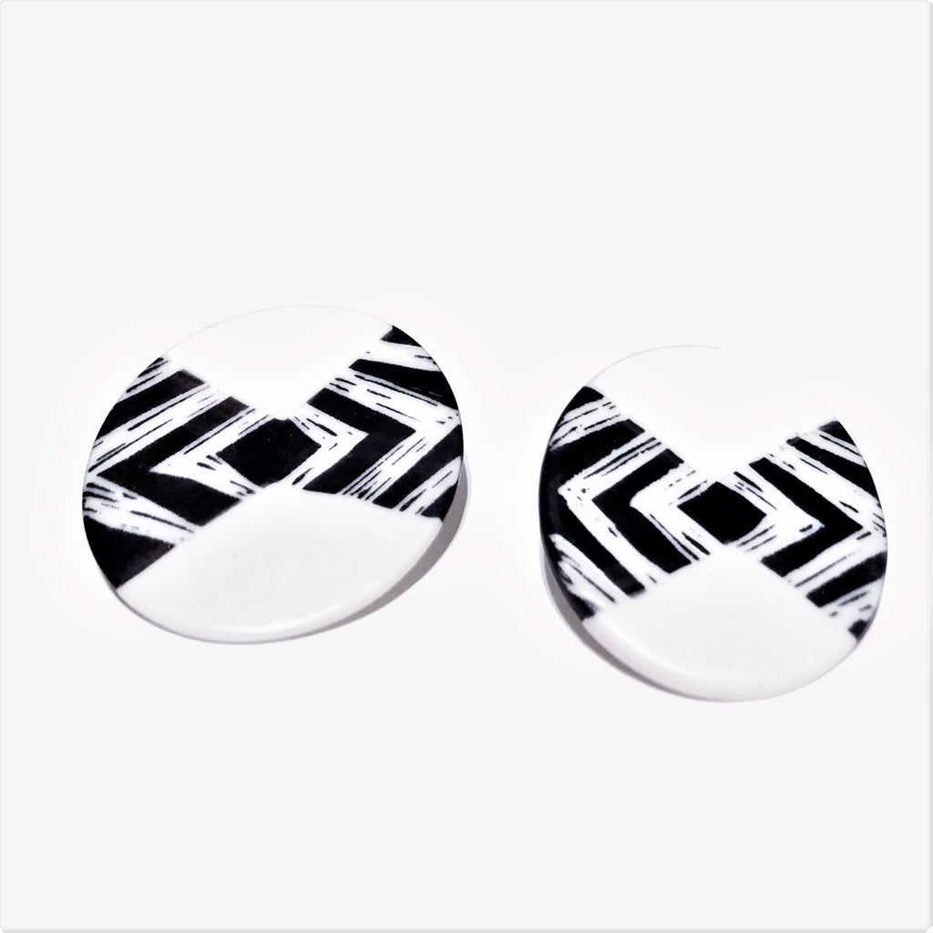 Stud Earrings Porcelain Disc Big
