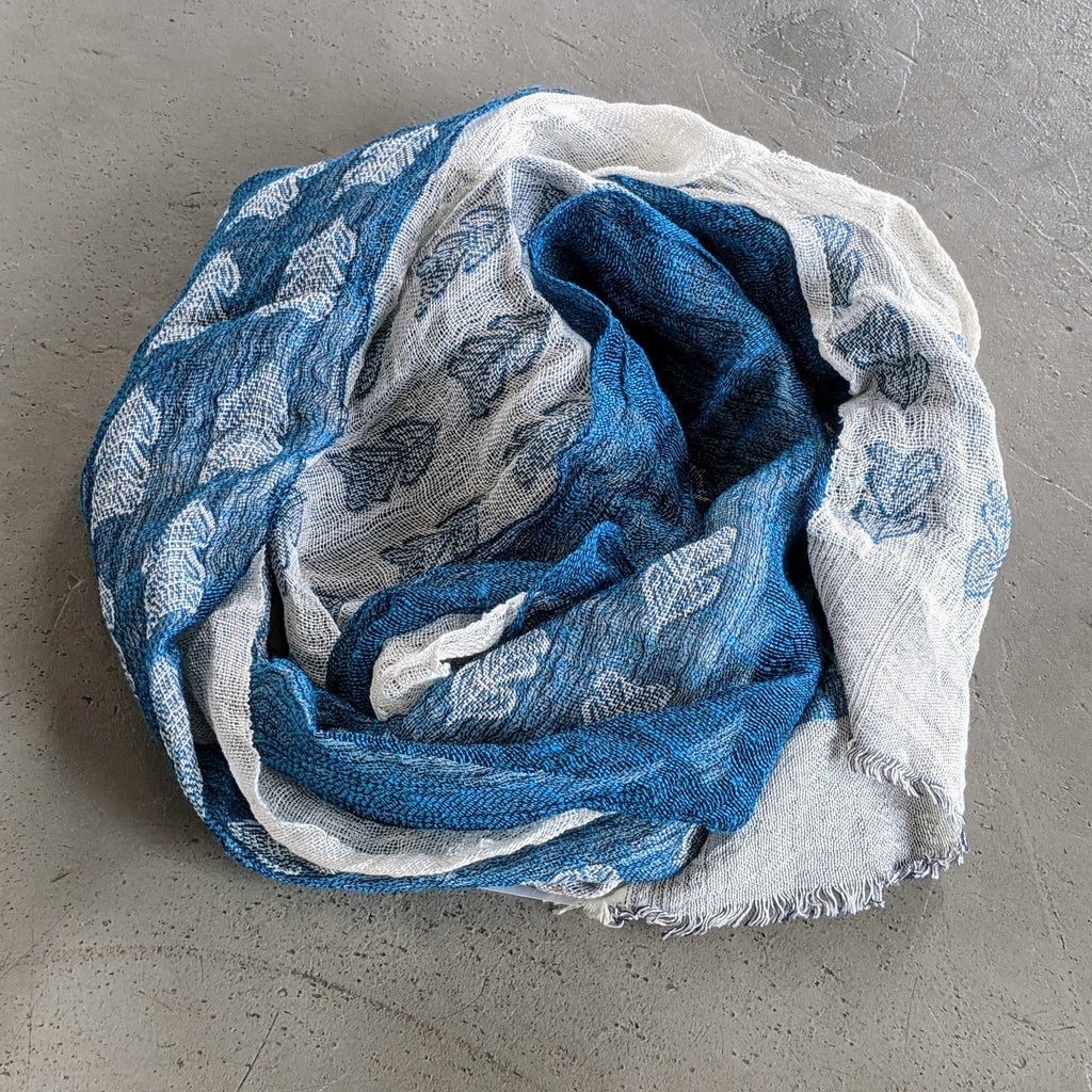 Scarf Silk Linen Wool Turquoise White Leaves