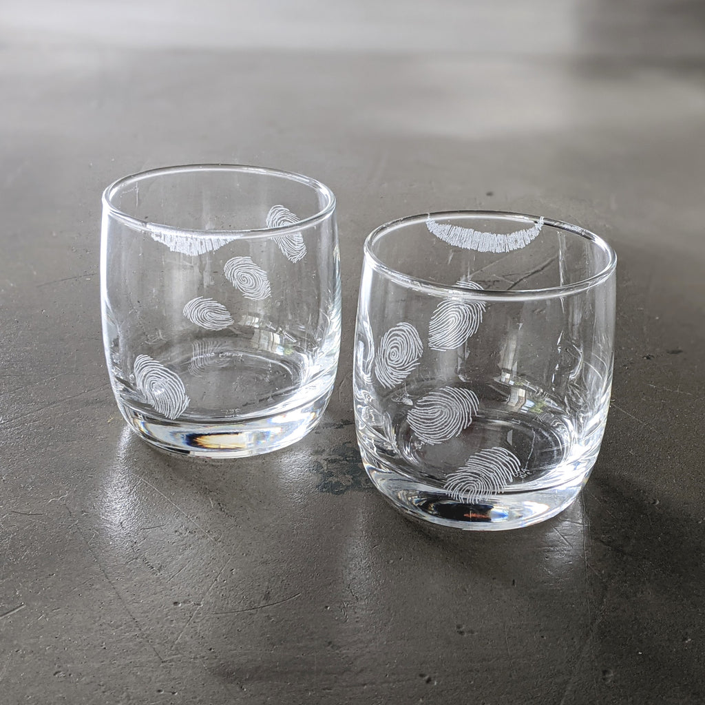Glass Cup Engraved Suspect Clear Short Set of Two