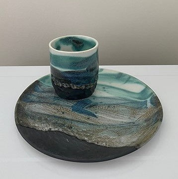 Ceramic Cup and Plate Set Rocky Shoreline