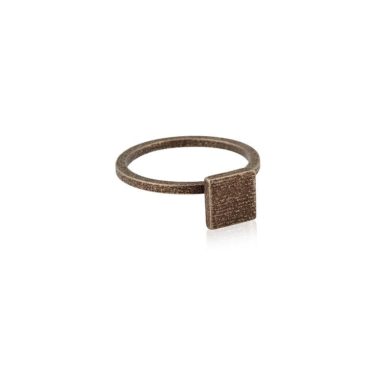 Ring Square Stacker Satin Steel Rustic Bronze Onyx