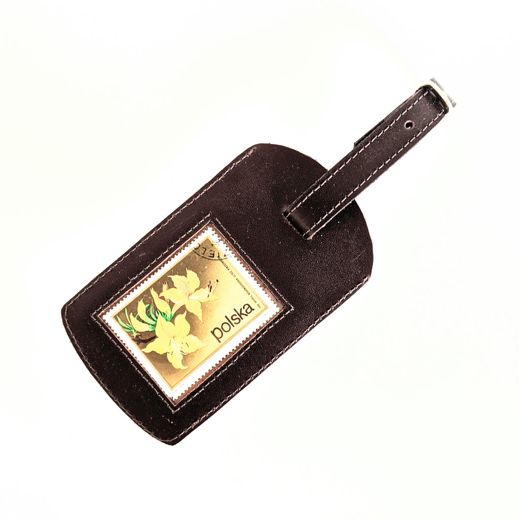 Luggage Tag Leather Brown