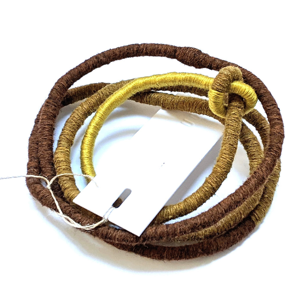 Necklace Fibre Wrapped Brown Olive Chartreuse