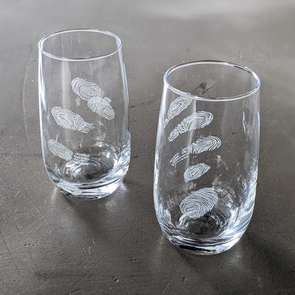 Glass Cup Engraved Suspect Clear Tall Set of Two