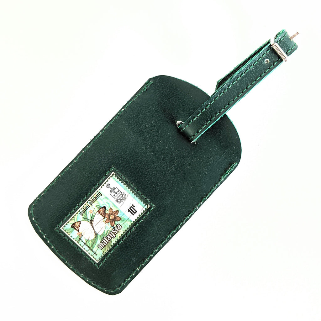 Luggage Tag Leather Green