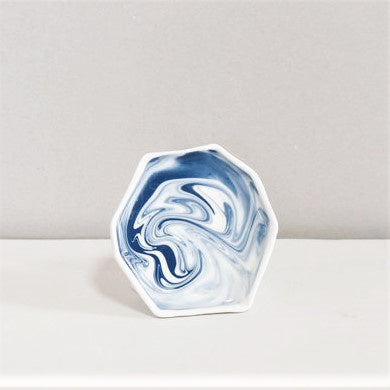Ceramic Plate Gem White Blue Marbled Mini