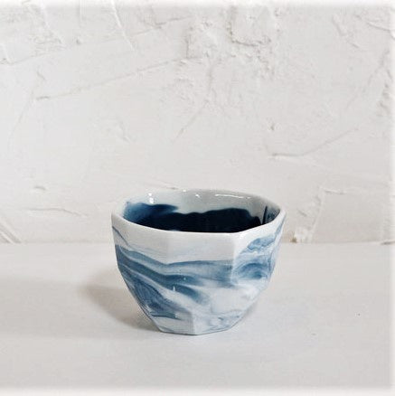 Ceramic Cup Gem White Blue Marbled