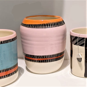 Ceramic Vase Liquorice All Sorts Pink Orange Little