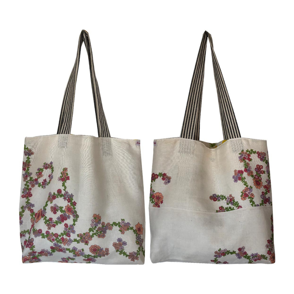 Tote Bag Vintage Linen Small Florals Spray