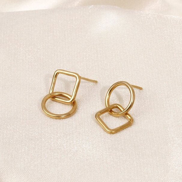 Stud Earrings Double Geometry Gold
