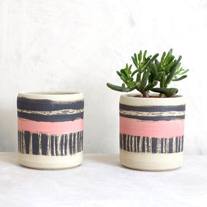 Ceramic Planter Textured Galah Pink Black White Stoneware Medium