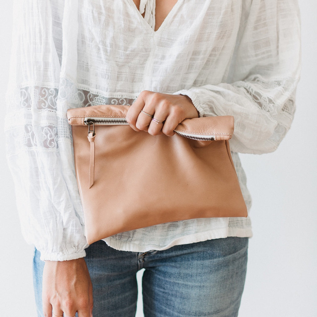 Clutch Purse Leather India Rose Nude Tan
