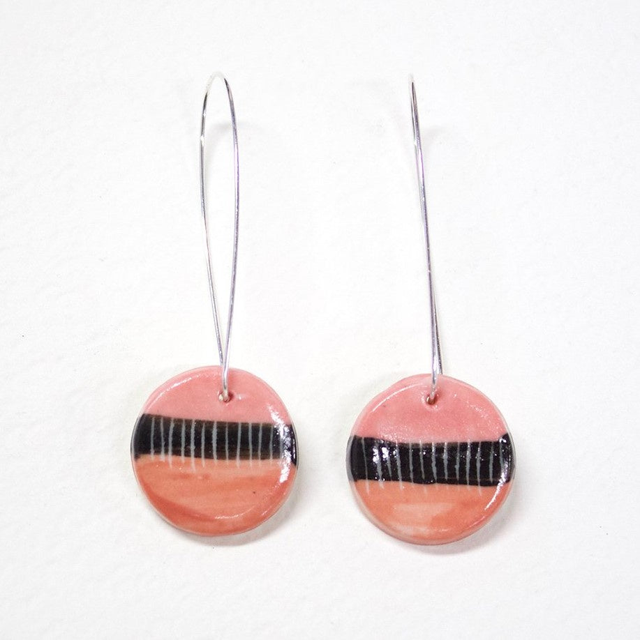 Hook Earrings Porcelain Disc Little Long Drop