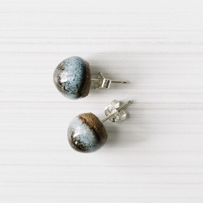 Stud Earrings Ceramic Acorn Medium