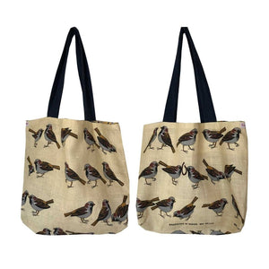 Tote Bag Vintage Linen Sparrows
