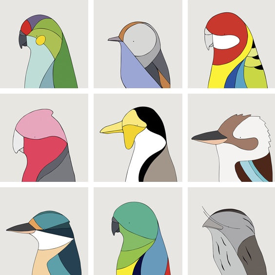 Unframed Prints Australian Birds 21cm x 21cm
