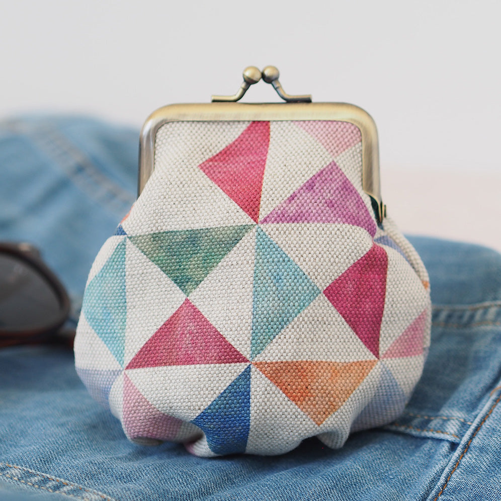 Coin Purse Printed Linen With Clasp